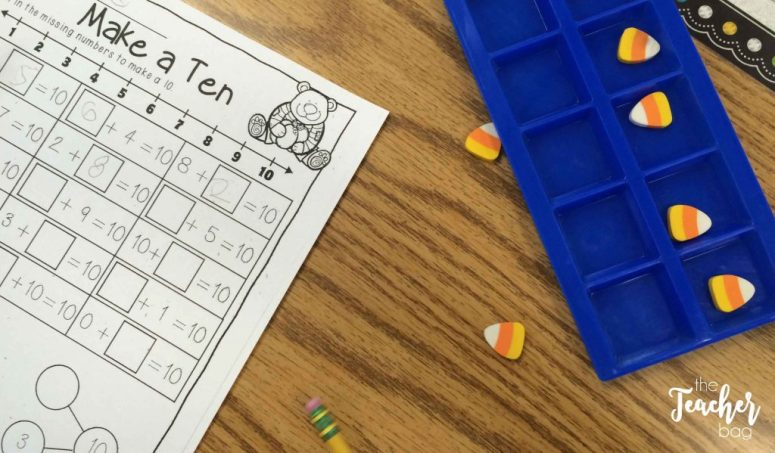 Use seasonal erasers to make tens with a ten frame.