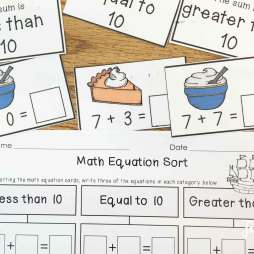 Thanksgiving math centers- equation sort