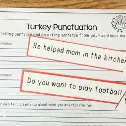 Thanksgiving literacy centers- punctuation sort