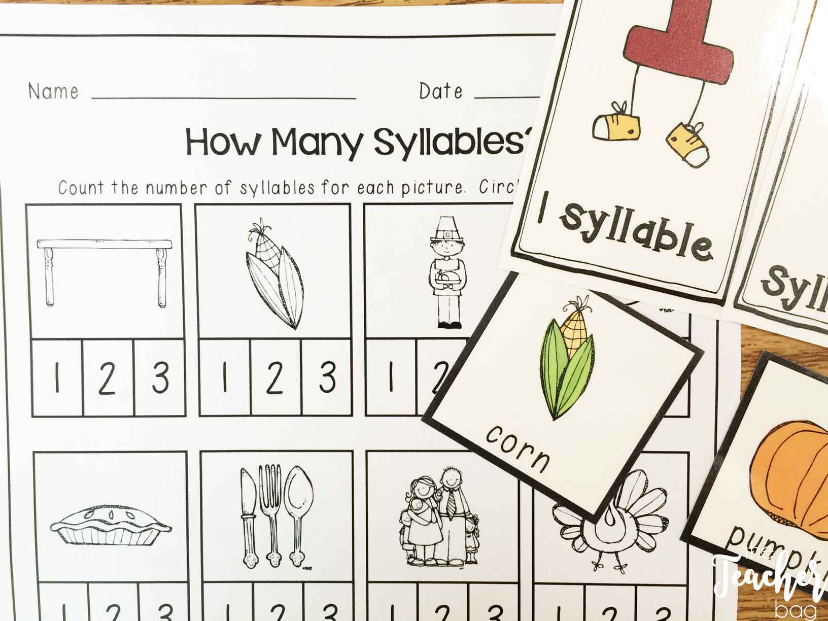 Thanksgiving literacy centers- syllable sort