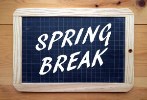 The phrase Spring Break in white text on a slate blackboard