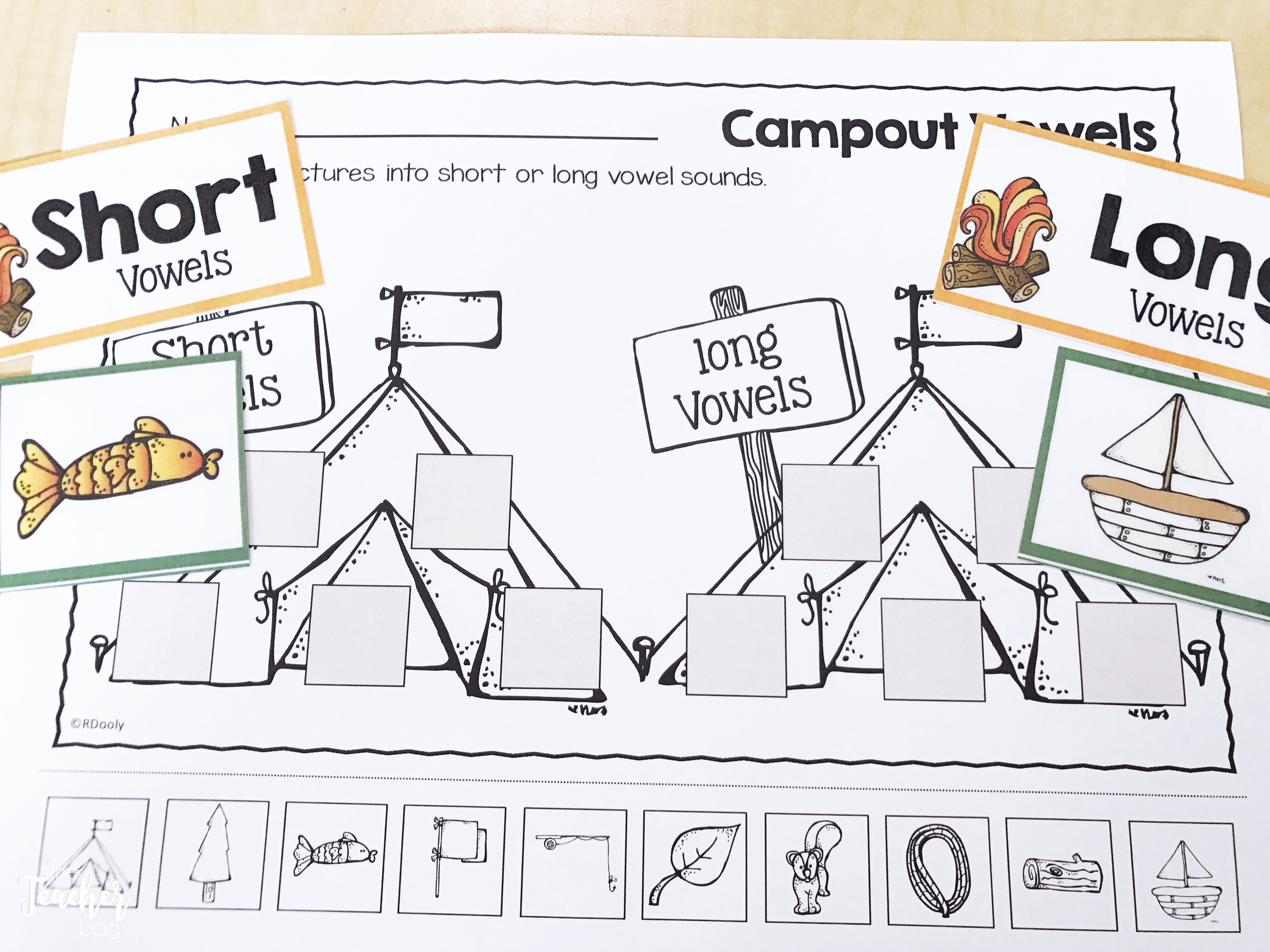 camping long and short vowel sort