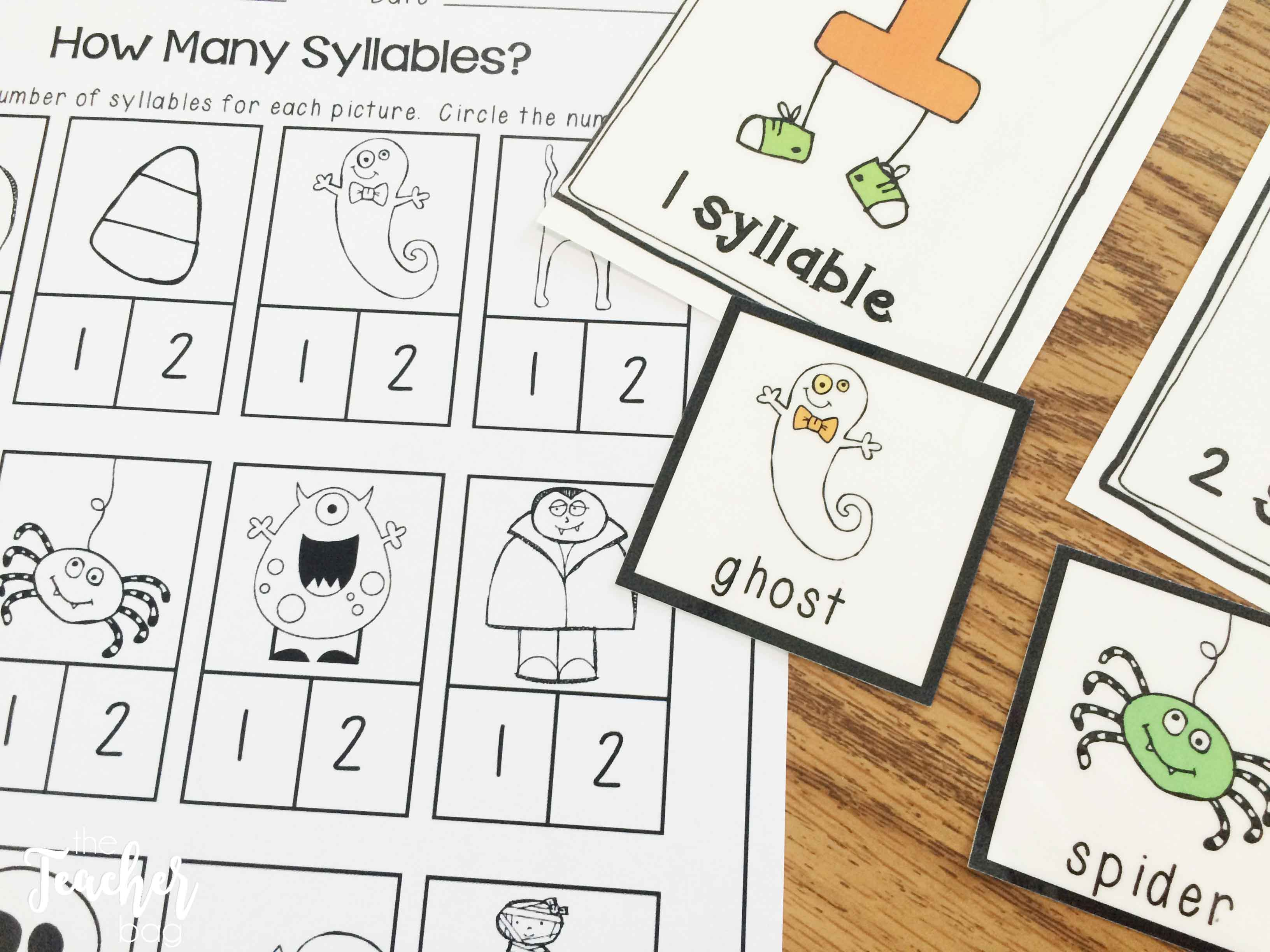 Halloween Centers- syllable sort