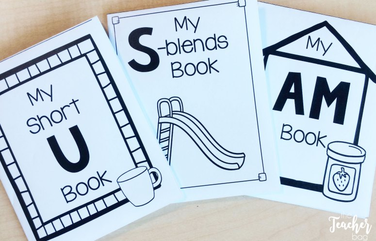 One page phonics review mini-books