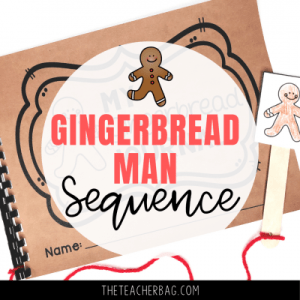 gingerbread man sequence journal with a gingerbread man on a stick