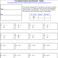 Converting Fractions and Decimals (tenths, hundredths ...