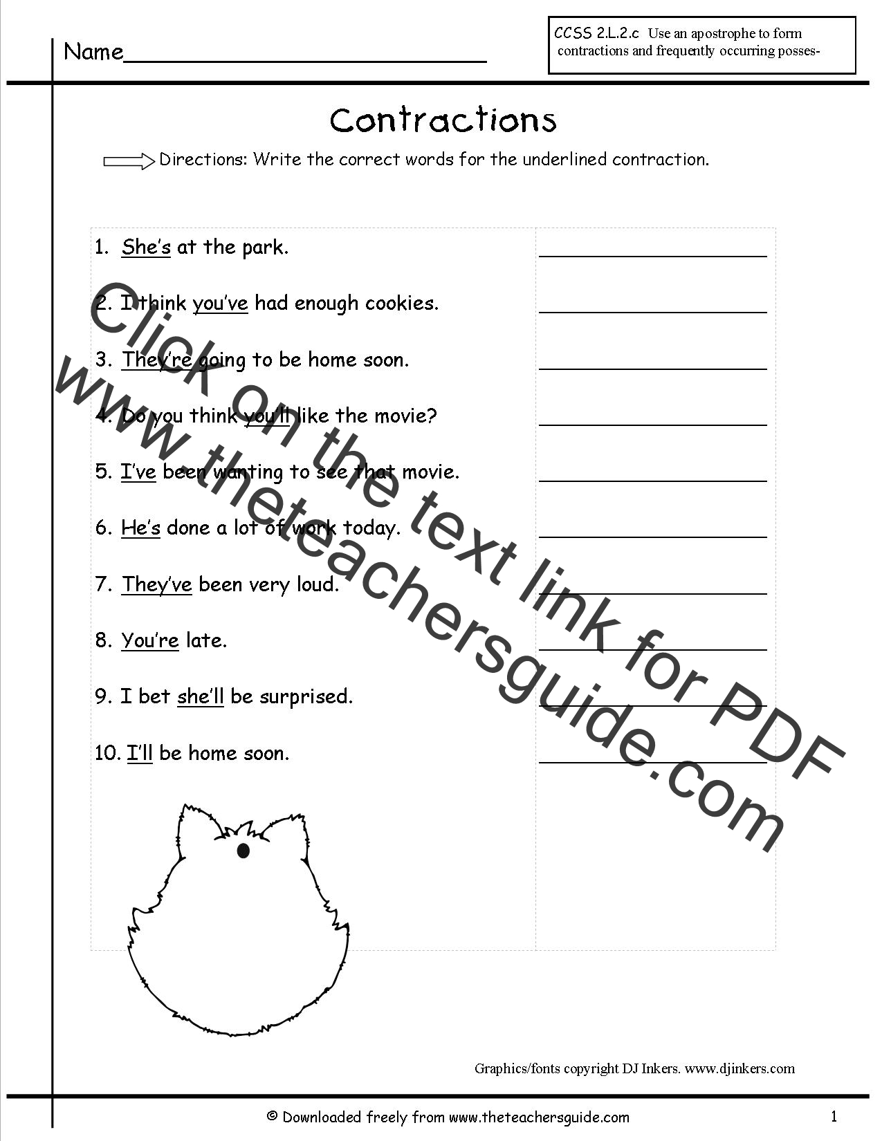 Contractions Worksheets from The Teacher's Guide