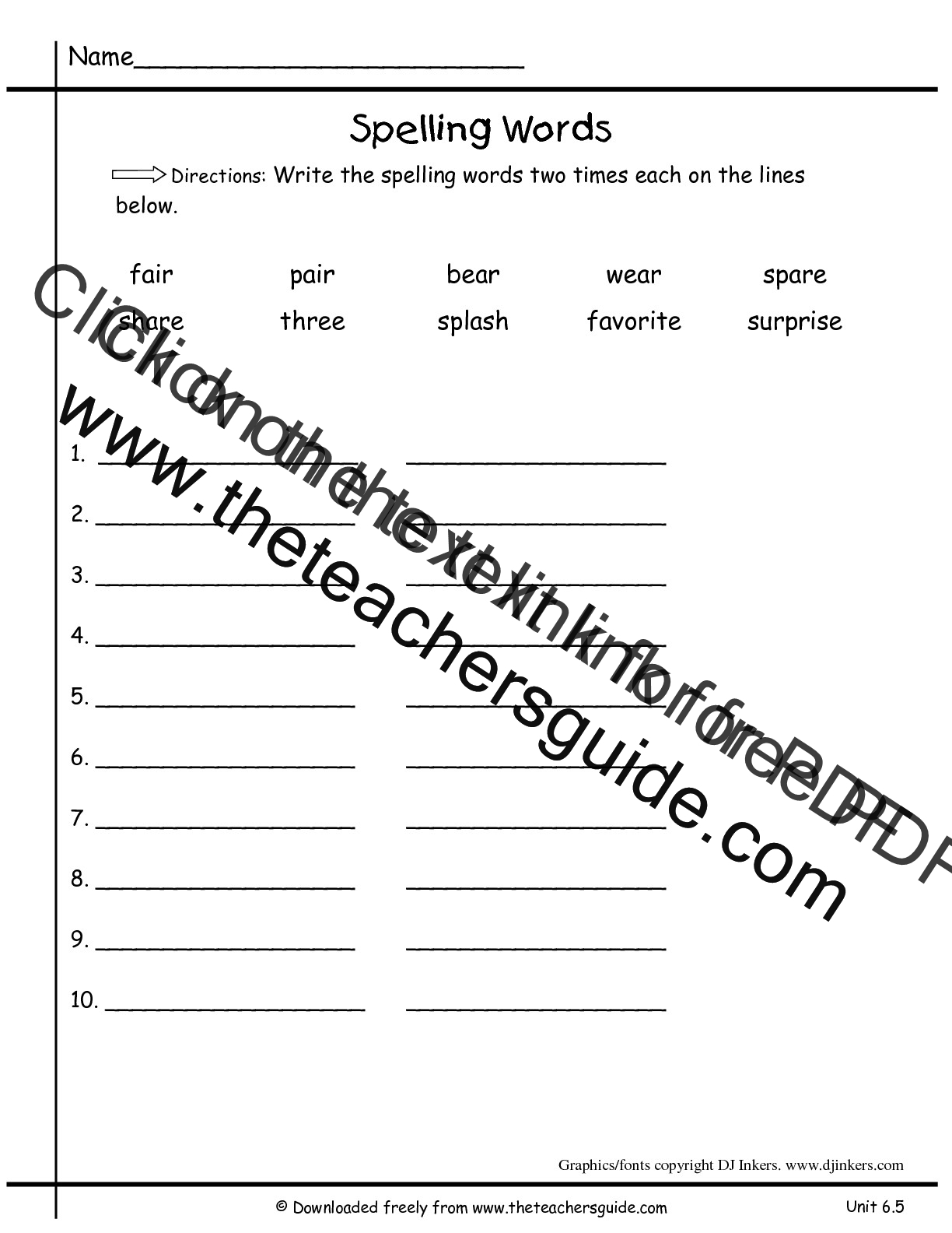Search Results For Blank Spelling Test Paper Calendar