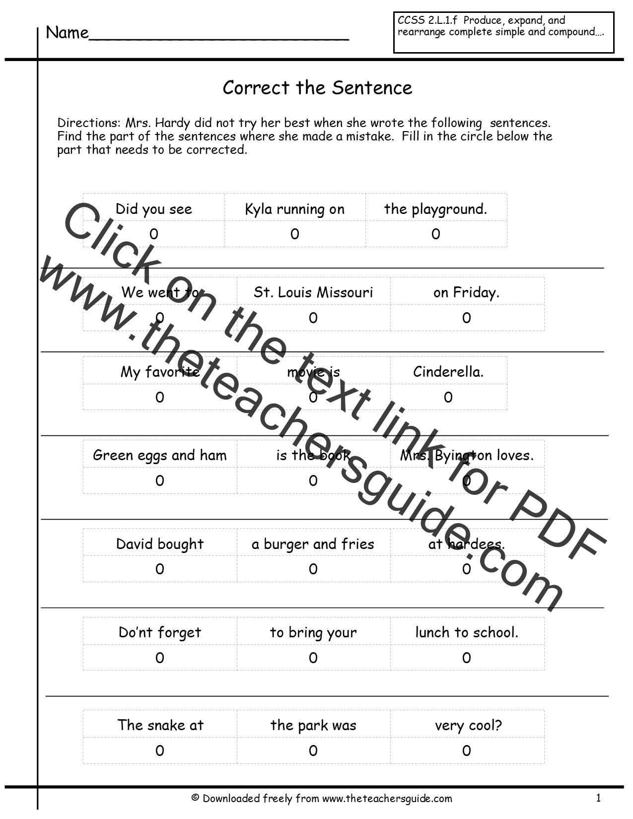 Sentences Worksheets From The Teacher's Guide