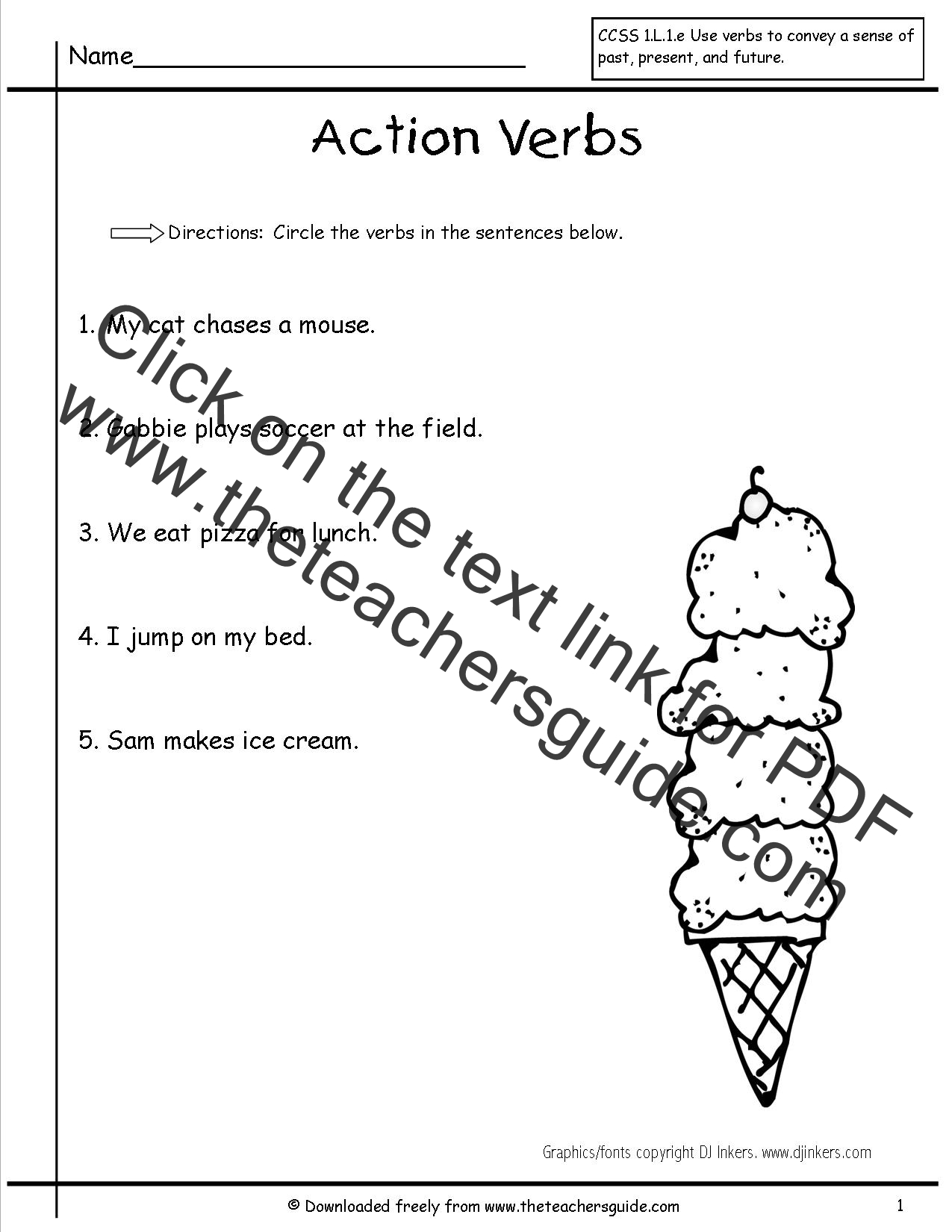 Free Verb Worksheets