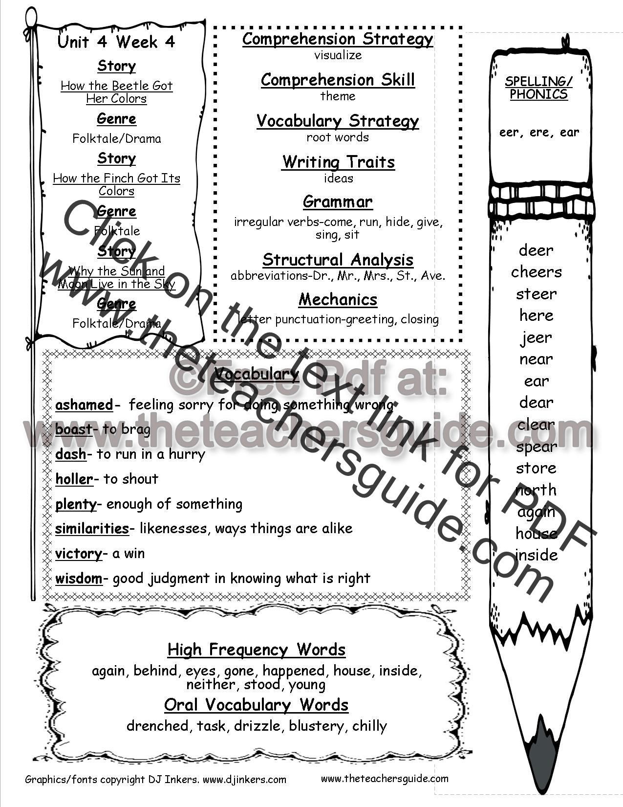 Reading Wonders Second Grade Lesson Plans