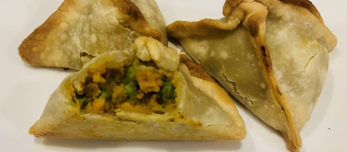 Baked Sweet Potato and Pea Samosas