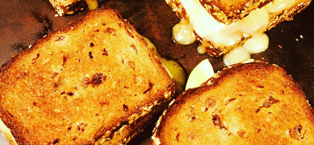 Apple, Cheddar, & Brie Grilled Cheese on Raisin Bread