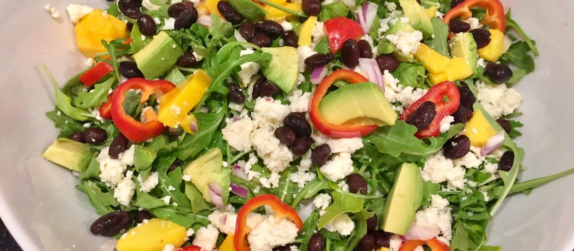 Peppery Greens with Mango, Black Beans,Avocado and Honey Chili Vinaigrette