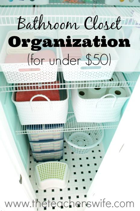 Bathroom Closet Organization at TheTeachersWife.com