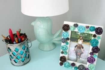 This simple DIY custom picture frame was a cinch and is the perfect touch to my daughter's desk.