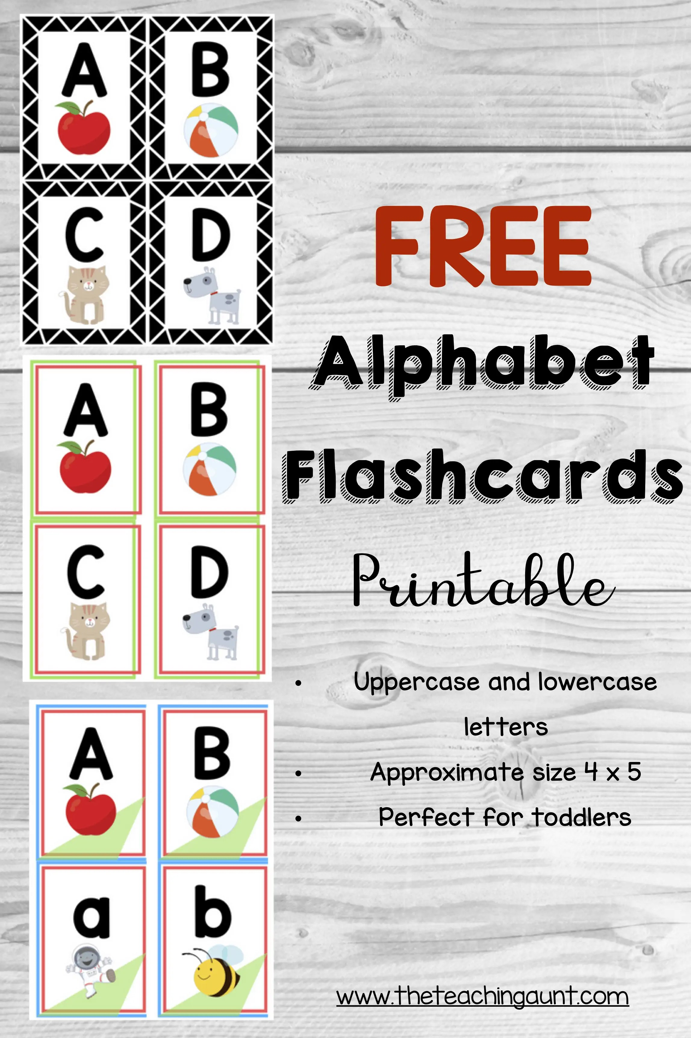picture relating to Free Printable Abc Flash Cards named Alphabet Flashcards No cost Printable - The Schooling Aunt
