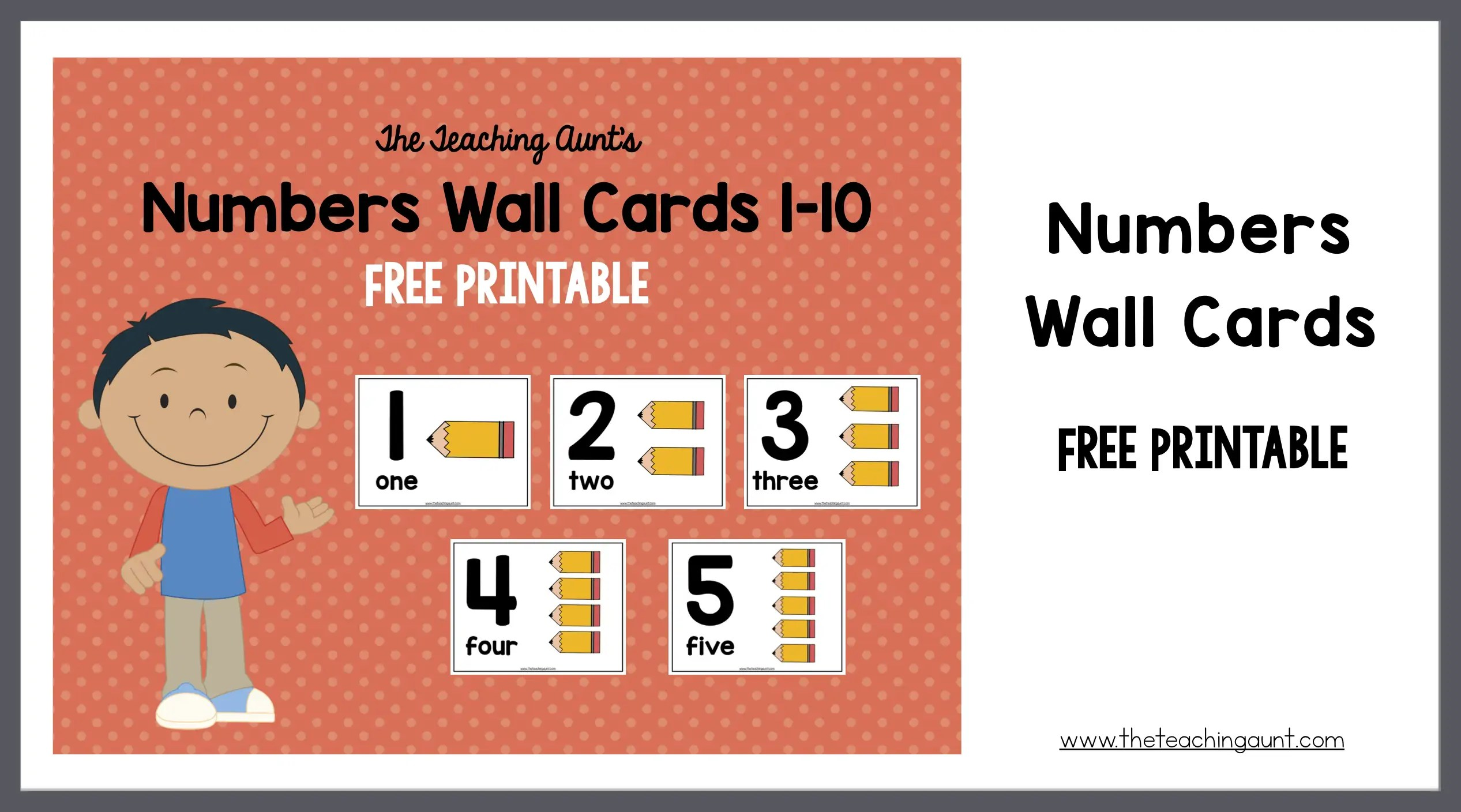 image relating to Free Printable Numbers 1 10 named Variety Wall Playing cards for Preschoolers - The Education Aunt