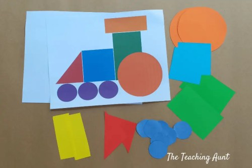 Train Shapes Pasting: Art And Craft For Toddlers