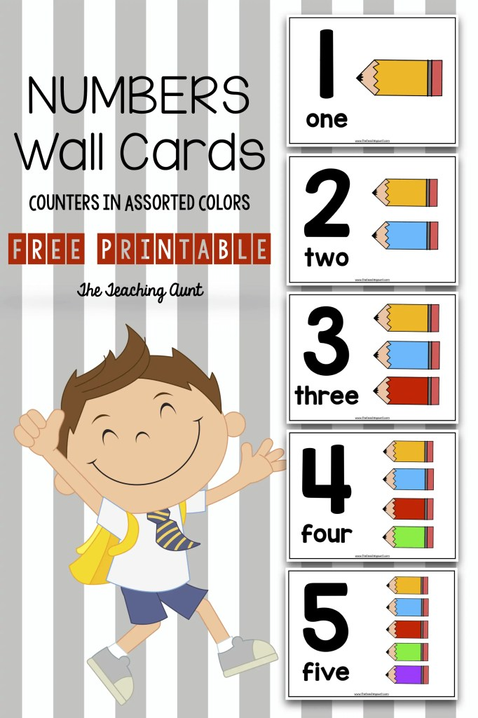 f6b7ef05735ce Number Wall Cards for Preschoolers with Colorful Pencil Counters ...