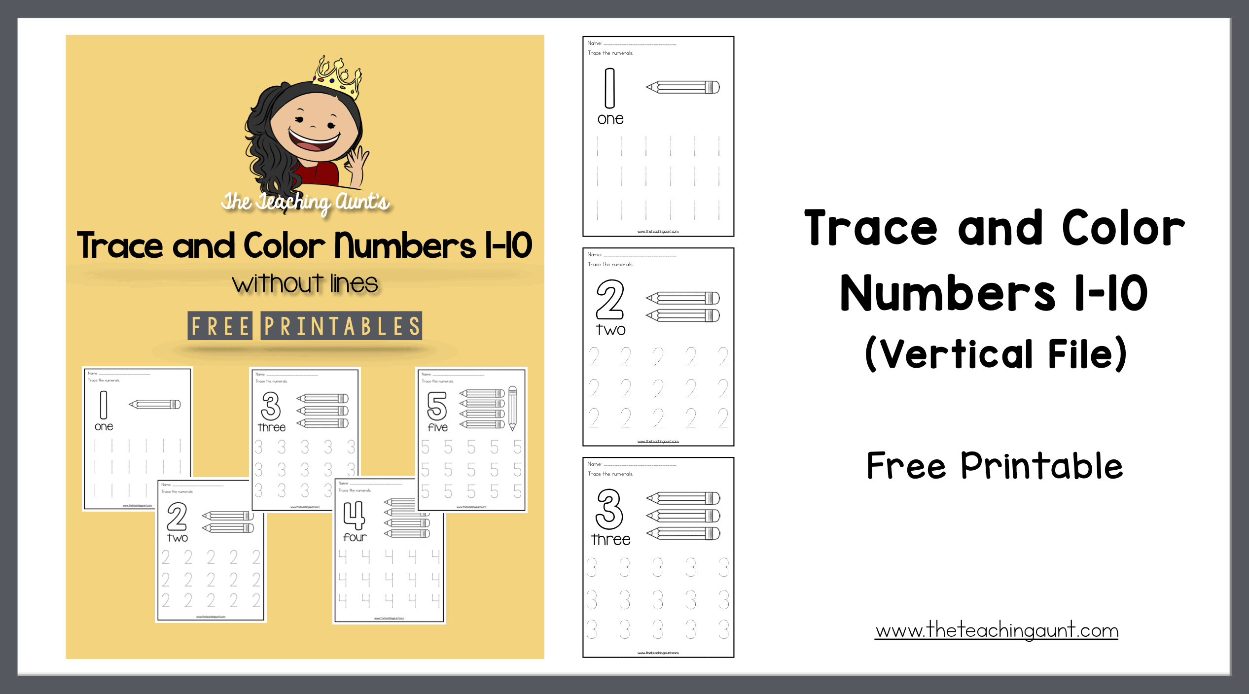 Trace And Color Numbers 1-10 - The Teaching Aunt