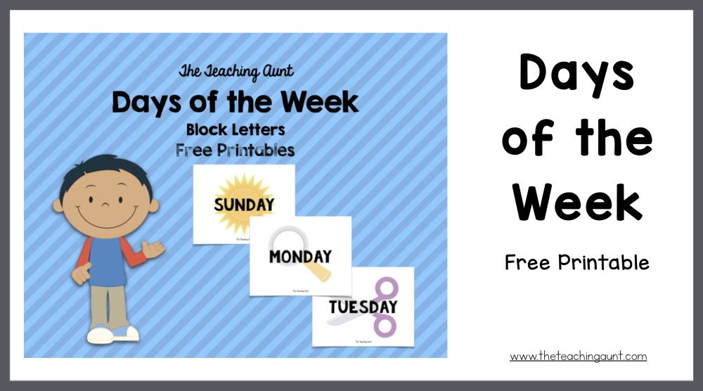 Sizzling image intended for days of the week printable