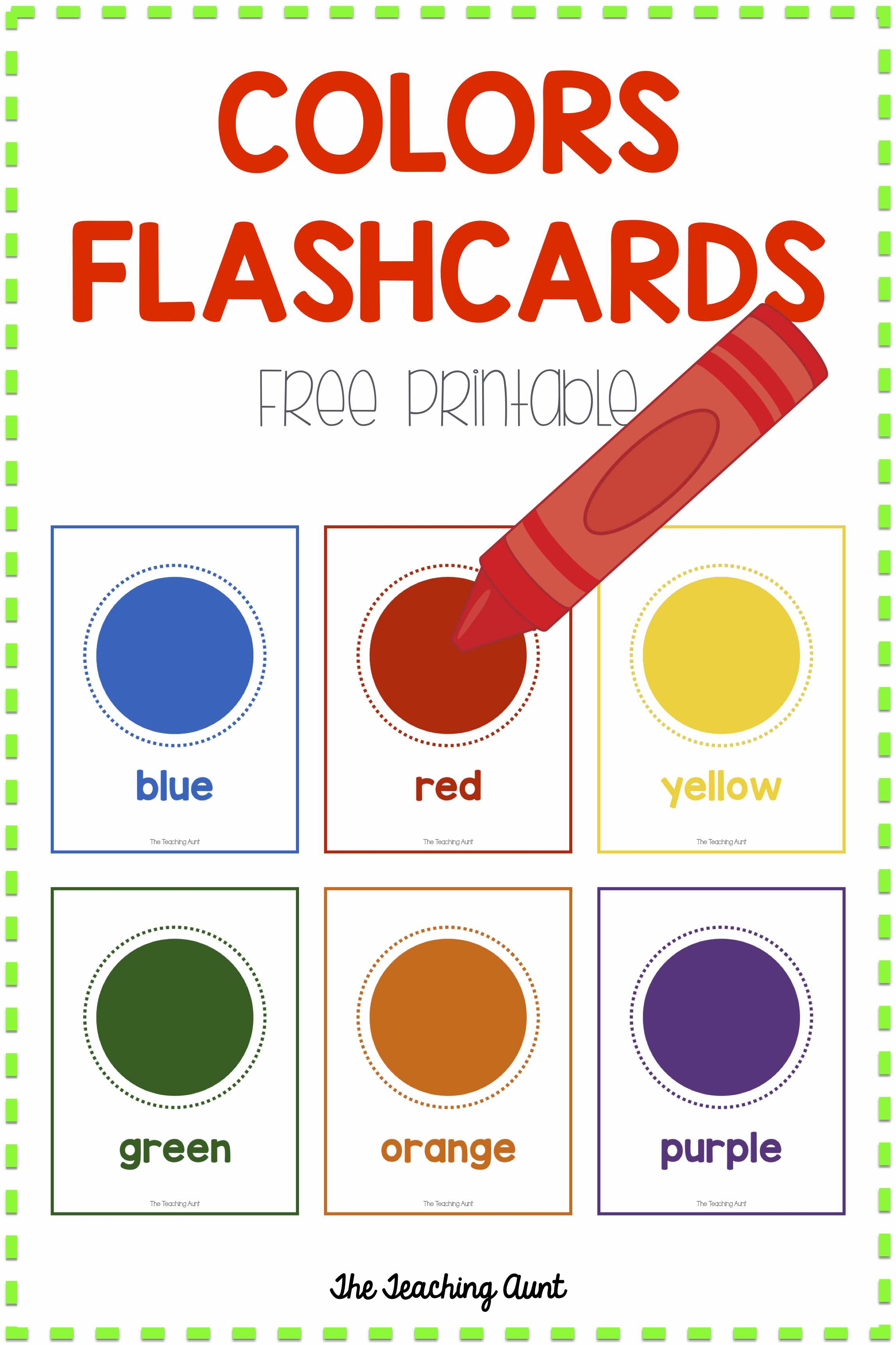 It's just a picture of Printable Color Flashcards for Toddlers regarding nursery