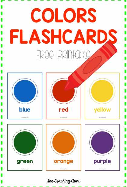 Colors Flashcards Free Printable The Teaching Aunt
