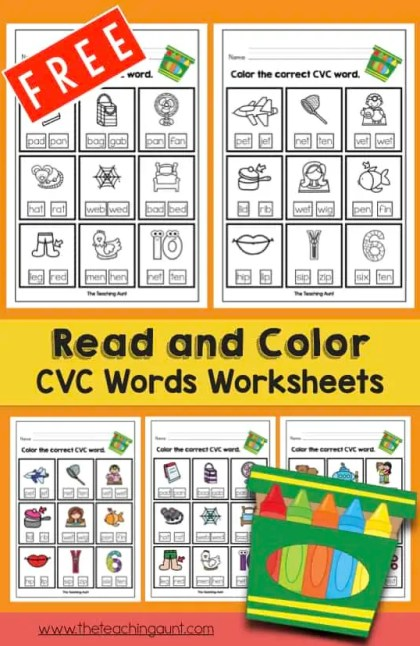 Read And Color Cvc Words Worksheets The Teaching Aunt