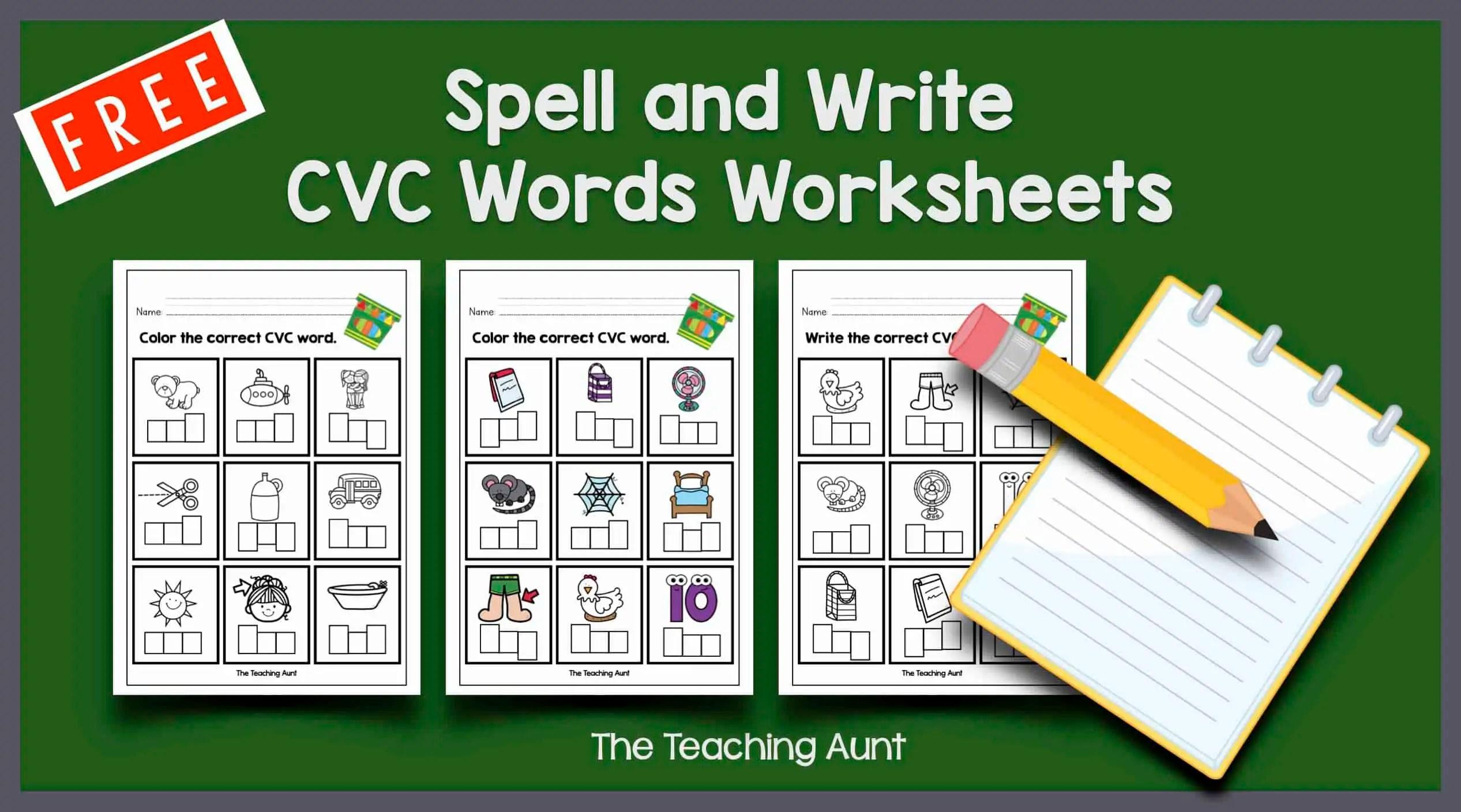 CVC Words Worksheets for Kindergarten. - The Teaching Aunt [ 1408 x 2533 Pixel ]