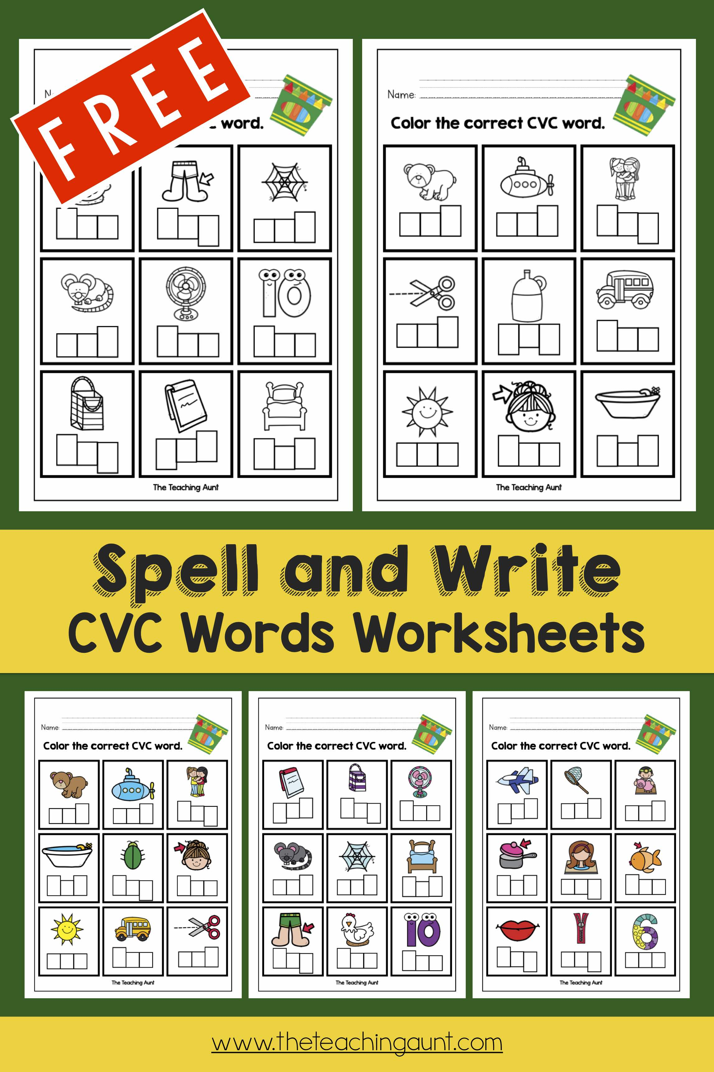 CVC Words Worksheets For Kindergarten. - The Teaching Aunt