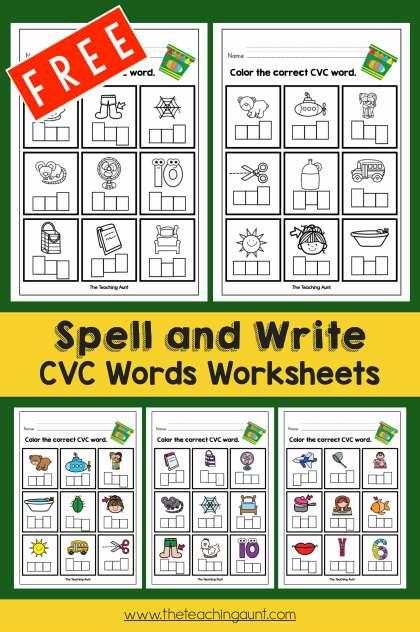 Cvc Words Worksheets For Kindergarten The Teaching Aunt