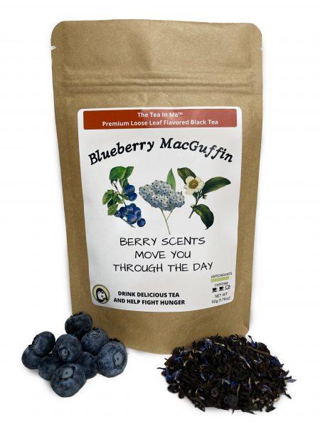 Kraft bag of The Tea In Me Blueberry MacGuffin loose leaf tea