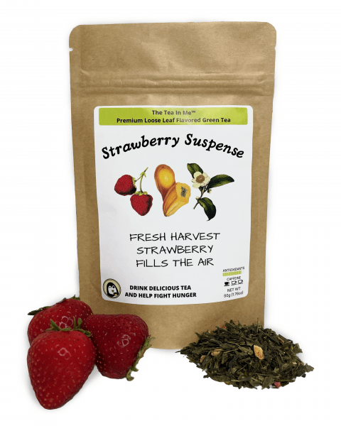 Kraft bag of The Tea In Me Strawberry Suspense loose leaf tea