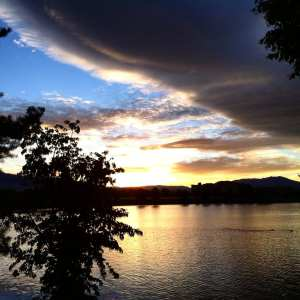 Sunset Vintage Lake with Tree and clouds 2016