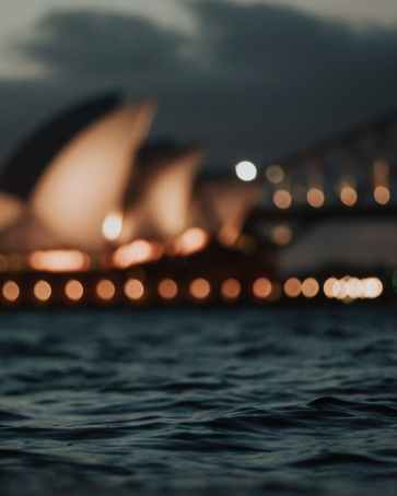 famous sydney opera house located on waterfront at night