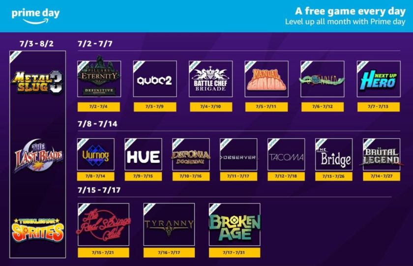 Starting today and running for the next two weeks, here's every game you can claim as a paying Amazon Prime user via the Twitch Prime service.