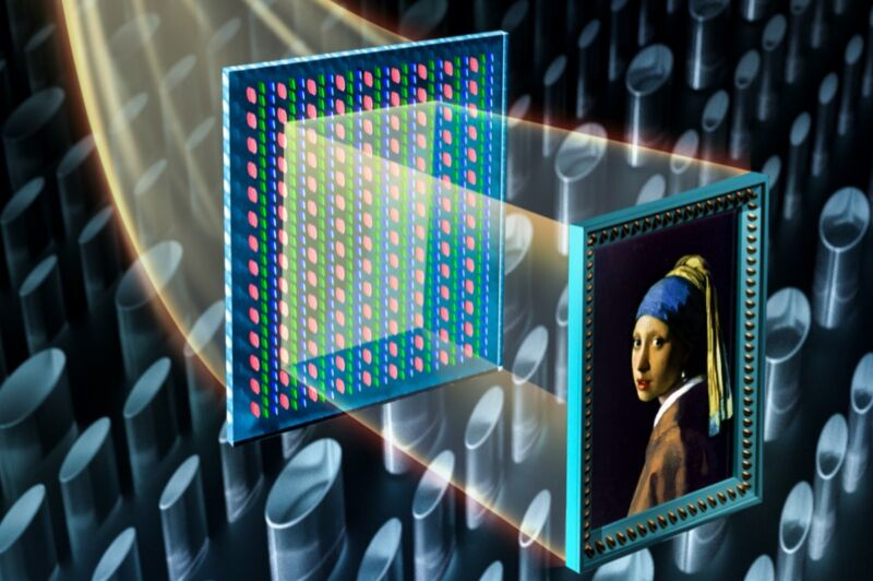 An illustration of how millions of nanopillars were used to control both the color and intensity of incident light, projecting a faithful reproduction of Johannes Vermeer's <em>Girl With a Pearl Earring</em>.