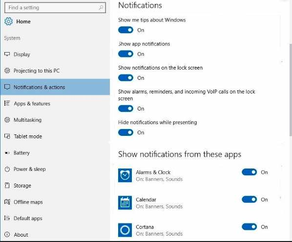 Turn off Notifications in Windows 10