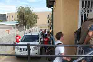 Ampioneers arriving at the Polytechnic of Namibia's Innovation Village