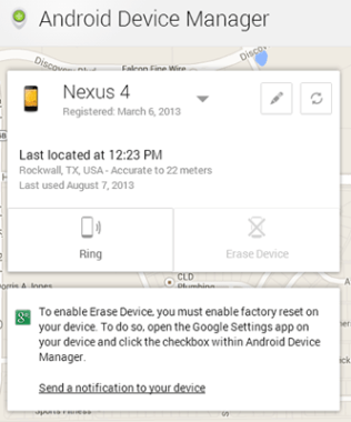 Android Device Manager UI