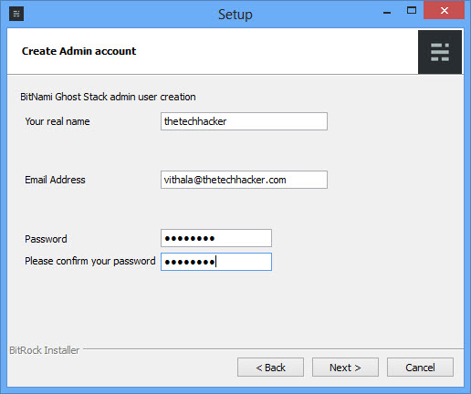 Ghost Admin Account Creation