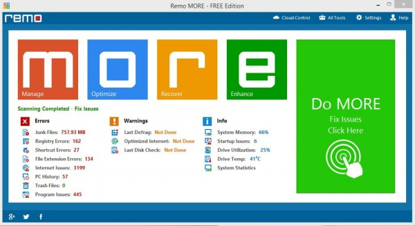 Remo MORE Windows User Interface