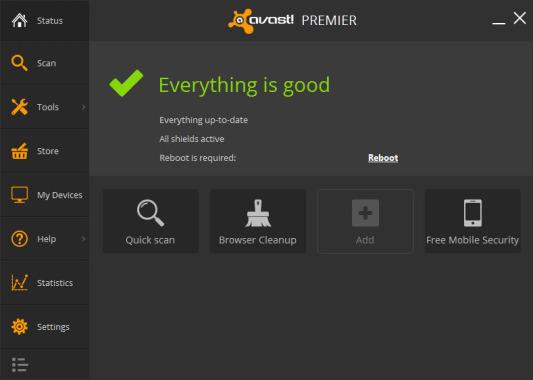 Avast Premier 2014 User Interface