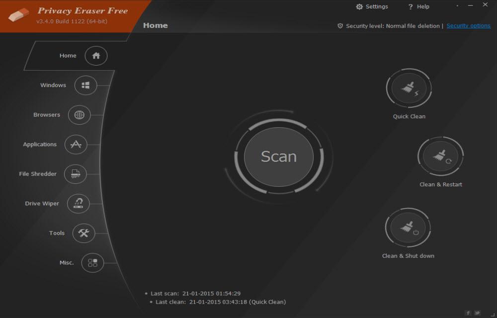 Privacy Eraser Free Home Screen