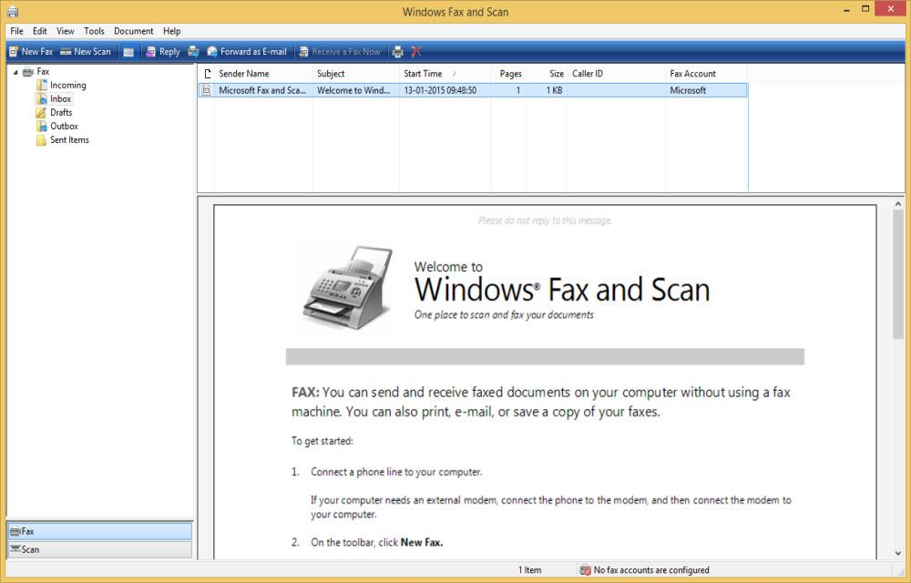 Windows Fax and Scan setup to send fax from pc