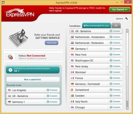 ExpressVPN Home Screen