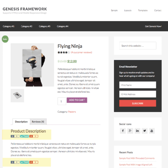 Genesis Framework WordPress Theme Review-woocommerce