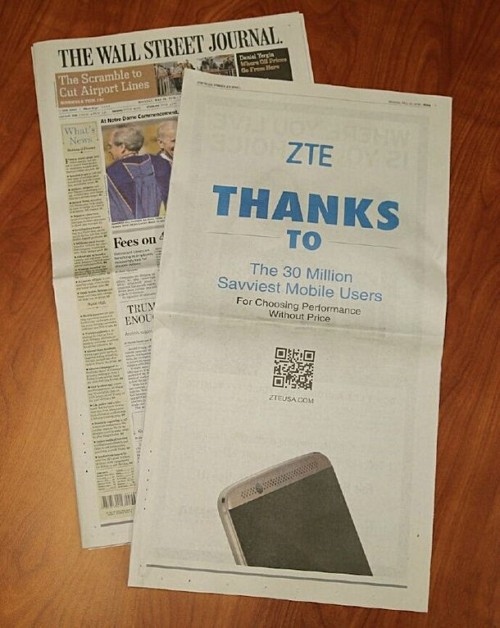 ZTE Wallstreet Journet Ad