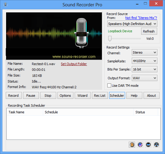 Features of the Sound Recorder pro for windows